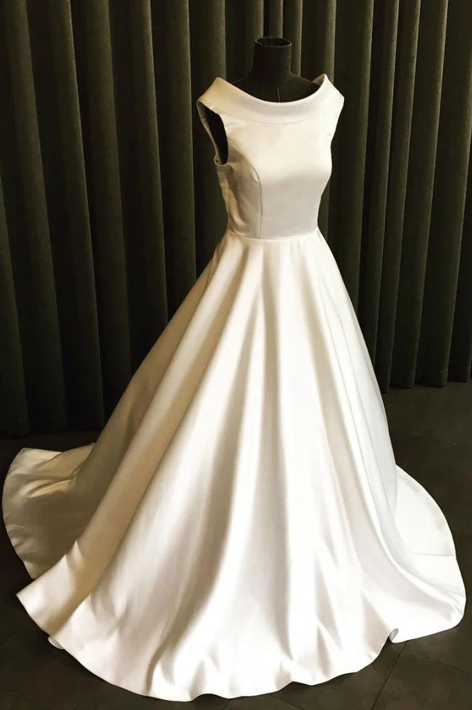 Simple White Sleeveless Bateau Prom Gown Wedding Dress