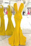 Yellow Deep V-neck Open Back Ruffled Mermaid Long Prom Dress