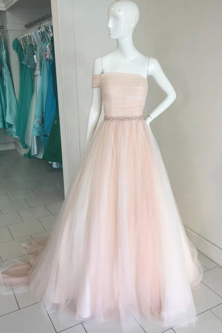 Elegant Off Shoulder Strapless A-line Rhinestone Princess Evening Dress