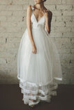 White Deep V-neck Sleeveless Princess Long Gown Wedding Dress