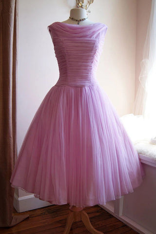 Blushing Pink Bateau Ruffled Homecoming Prom Dress