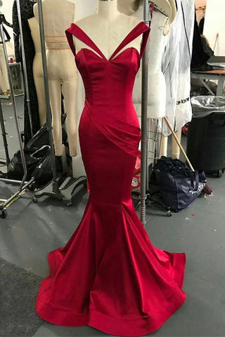 Dark Red Mermaid Off Shoulder V-neck Long Prom Dress