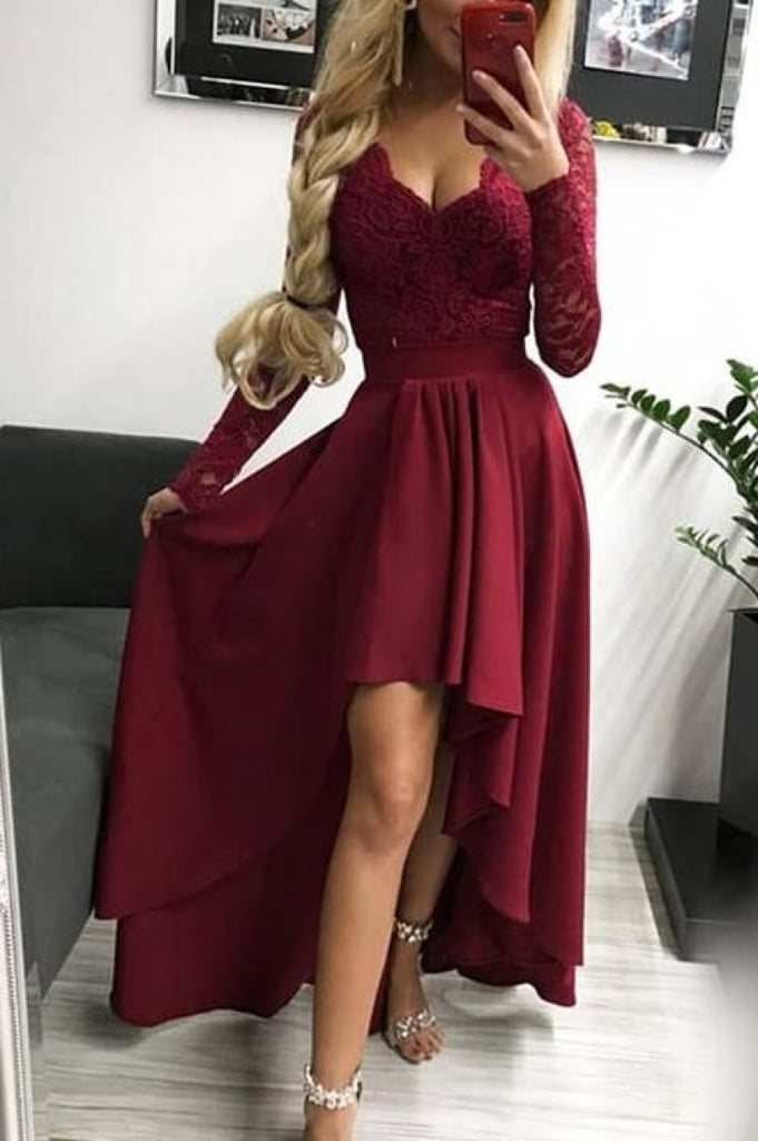 Burgundy Long Sleeves V-Neck High Low Lace Evening Prom Dress Dresses