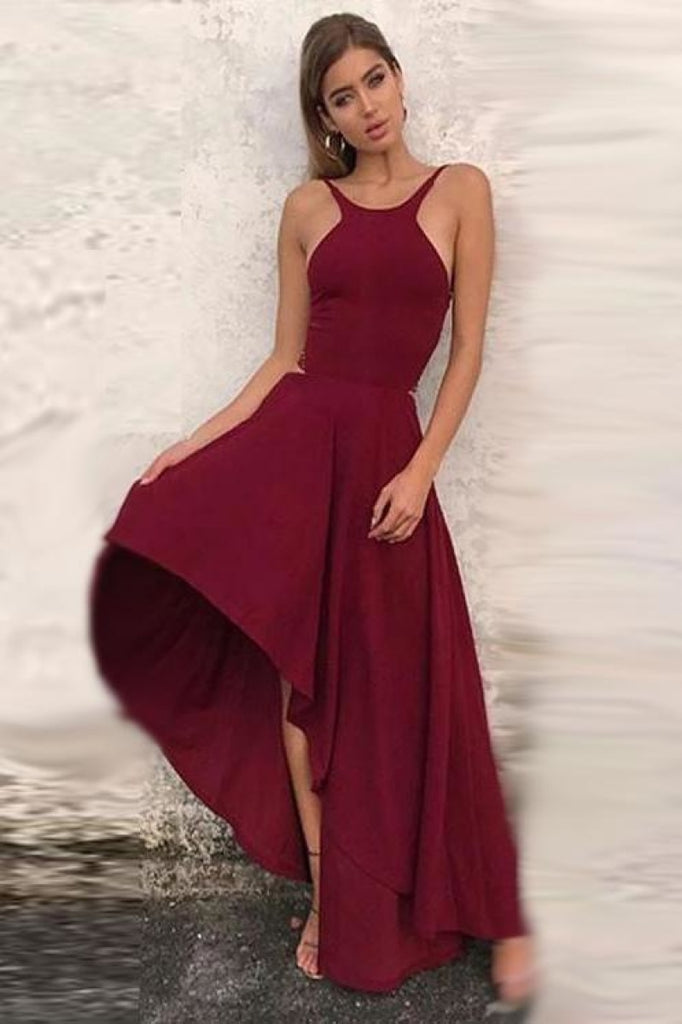 Burgundy High Low Backless Sleeveless Formal Party Evening Dress Dresses