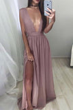 Sexy Plunging Neck Sleeveless Slit Long Dress Prom Gown