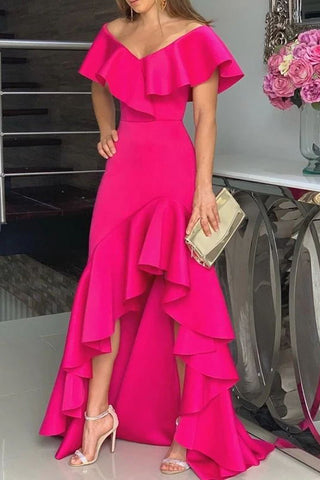 Candy Pink Off Shoulder High Waist Ruffled Prom Gown Evening Dress