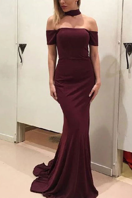 Simple Burgundy Off Shoulder Mermaid Long Prom Dress