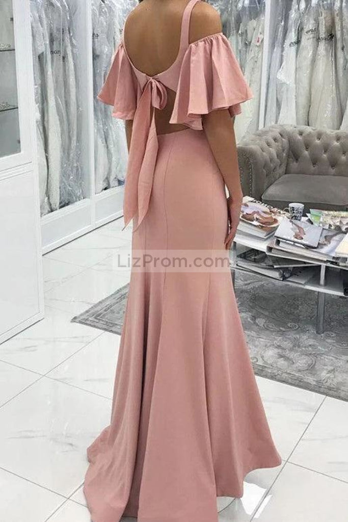Sexy Pearl Pink Off Shoulder Mermaid Bridesmaid Evening Dress Dresses