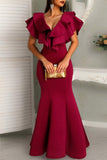 Fuchsia Cap Sleeves Ruffled Mermaid Prom Dress