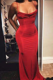 Sexy Red Mermaid Sleeveless Spaghetti Straps Long Prom Dress