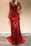Elegant Red Sweetheart Mermaid Evening Dress Prom Dress With Slit