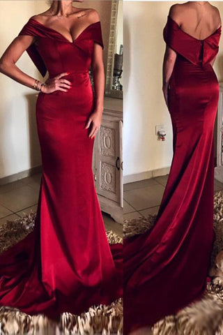 Elegant Burgundy V-neck Off Shoulder Mermaid Long Prom Gown