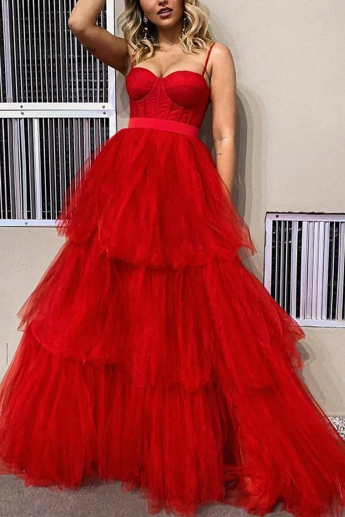 Red Spaghetti Straps Sleeveless Prom Dress Wedding Gown