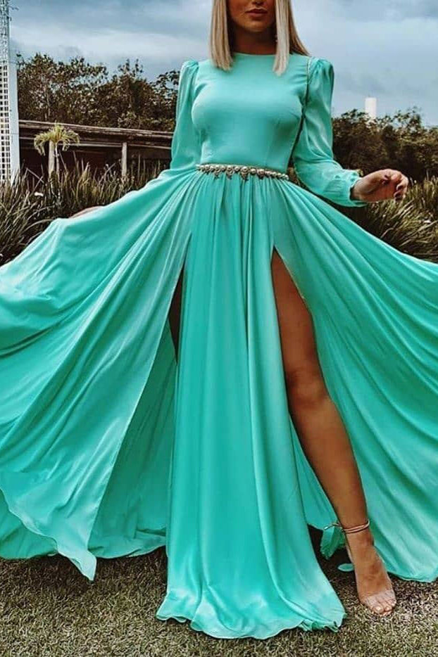 Elegant Mint Long Sleeves A-line Two Slit Long Dress Prom Gown