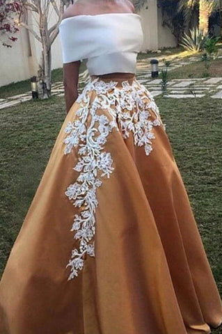 Elegant Applique Off Shoulder Two Pieces Formal Ball Gown