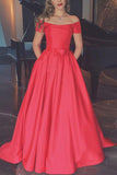 Elegant Red Off Shoulder A-line Wedding Dress Prom Dress