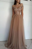 Champagne Off Shoulder Beaded Rhinestone A-line Evening Dress