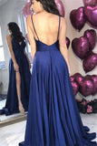 Navy Blue Spaghetti Straps Open Back Sleeveless A-line Prom Evening Dress