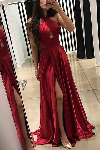Sexy Dark Red Sleeveless Cut Out Halter Slit Cheap Long Prom Dress