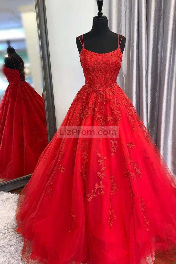 Tulle Appliques A-line Ball Gown Prom Evening Dresses