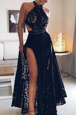 Sexy Black A-Line Halter Lace Prom Dress with Slit