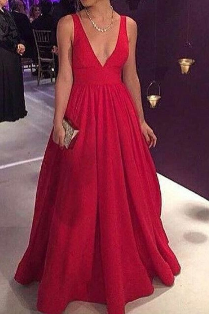 Red Deep V-neck A-Line Backless Ball Gown Evening Prom Dresses