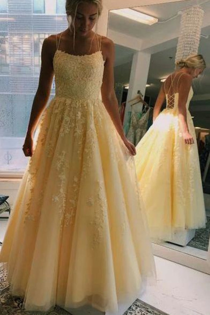 A-line Square Neck Tulle Prom Dress With Appliques