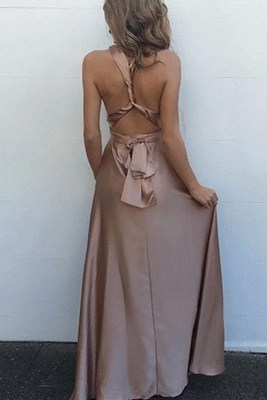 A-line Criss Cross Straps Silk Like Satin V-neck Prom Dress
