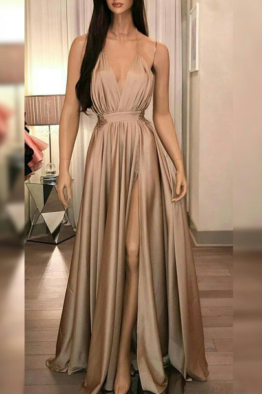 A-line Deep V-neck Ruffles Evening Dress With High Slit