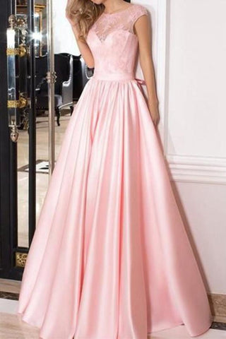 A-line See Through Pink Lace Long Evening Dress With Short Sleeves