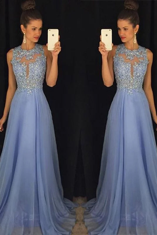 A-line Sleeveless Applique Scoop Chiffon Prom Dress