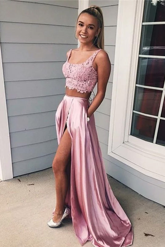 A-line Two Pieces Square Neck Appliques High Slit Prom Dress
