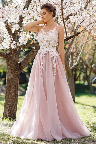 A-line Wedding Tulle Sleeveless Applique Evening Dress