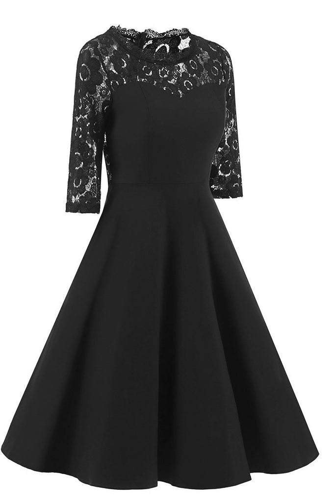 Chic Black A-line Lace Homecoming Dress With Sleeves