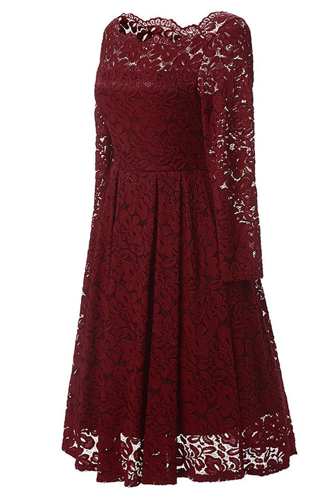Burgundy A-line Lace Homecoming Dress With Long Sleeves