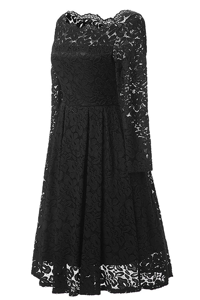 Black A-line Lace Homecoming Dress With Long Sleeves