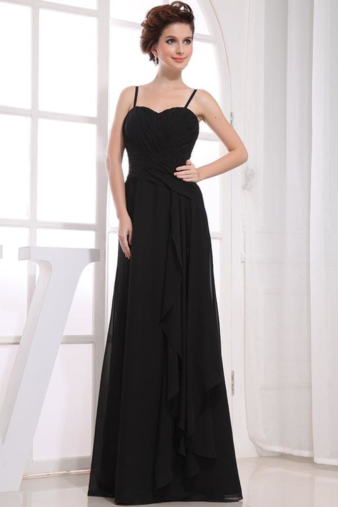 Black A-line Ruffled Chiffon Evening Formal Dress