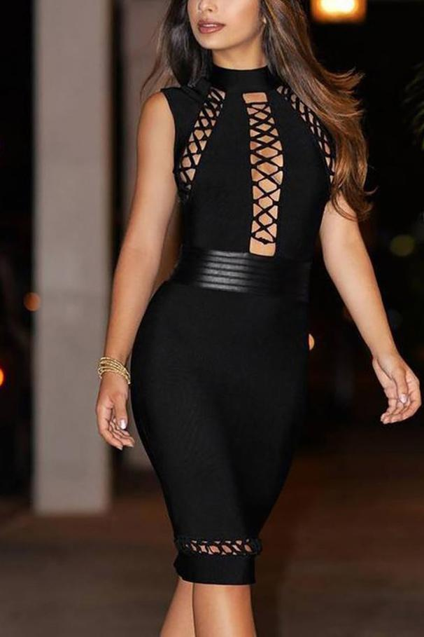 Sexy Black Cut Out Lace Up Sexy Bandage Dress