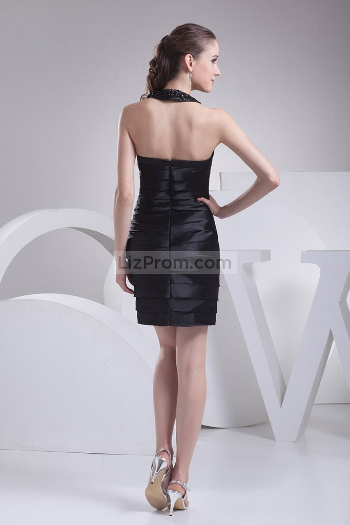 Black-Halter Beaded Satin Mini Prom Dress