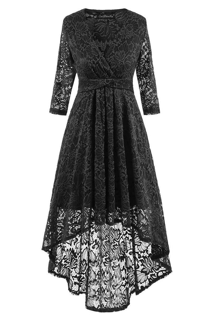 Black High Low Lace Homecoming Dress With Long Sleeves