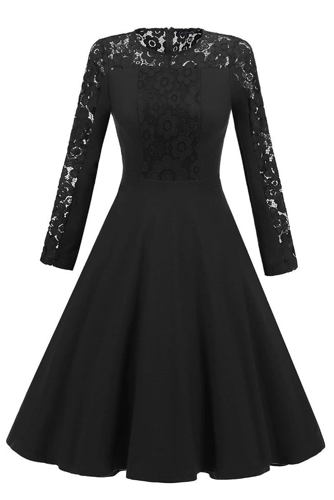 Black Lace Fit And Flare Prom Dress With Long Sleeves