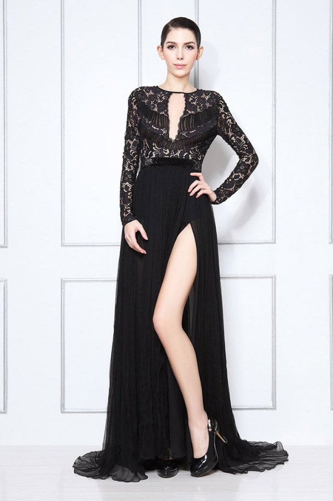 Black Lace Thigh-High Slit Prom Formal Dress With Long Sleeves Dresses