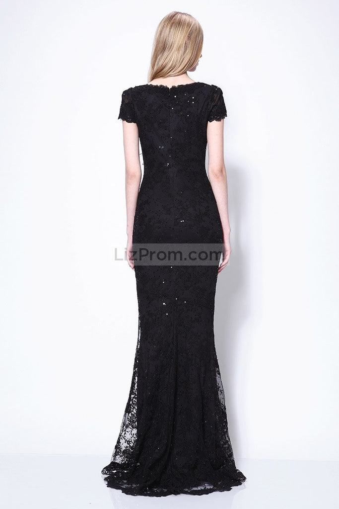 Black Mermaid Cap Sleeves Lace Beaded Wedding Prom Dress Dresses
