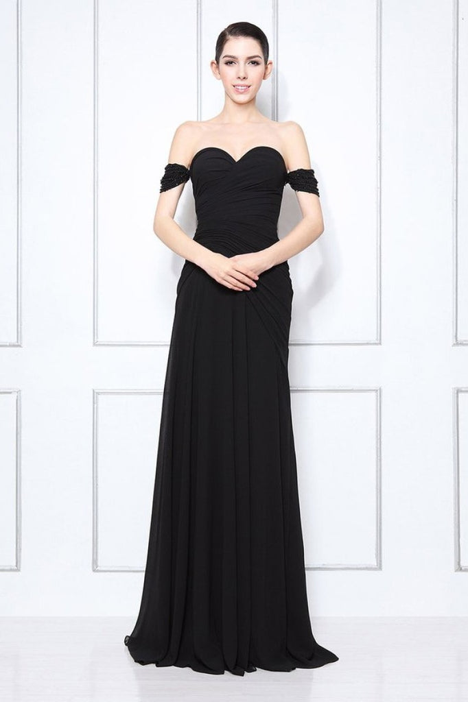 Black Off-the-shoulder Beaded Sweetheart Prom Dress