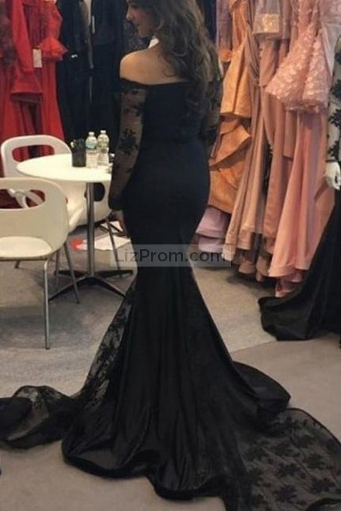 Black Mermaid Applique Prom Dress With Sleeves
