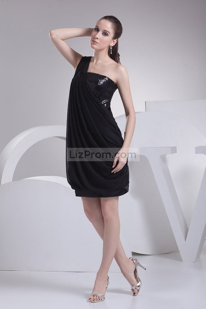 Black One Shoulder Sequin Ruffle Homecoming Cocktail Dress