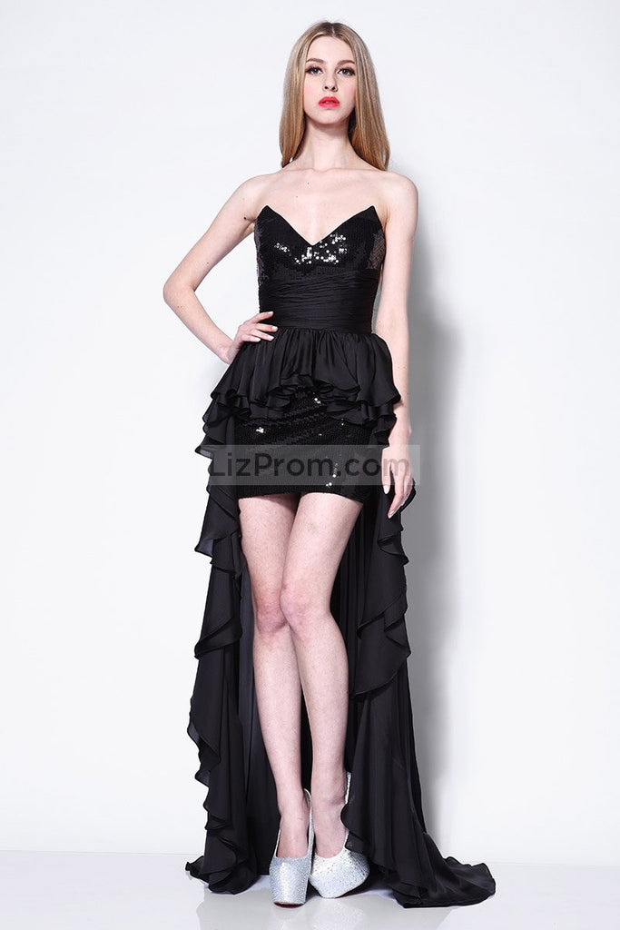 Black Strapless High Low Sequins Prom Evening Dress Dresses