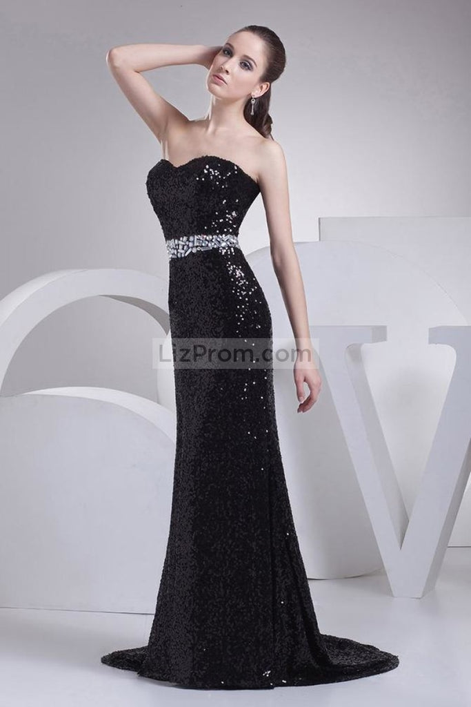 Black Strapless Mermaid Sequined Long Prom Dress