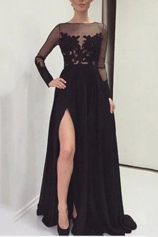 Black A-Line Slit Long Sleeves See Through Lace Evening Prom Dress