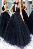 Black High Fashion Cut Out Backless Tulle High Neck Evening Ball Gown